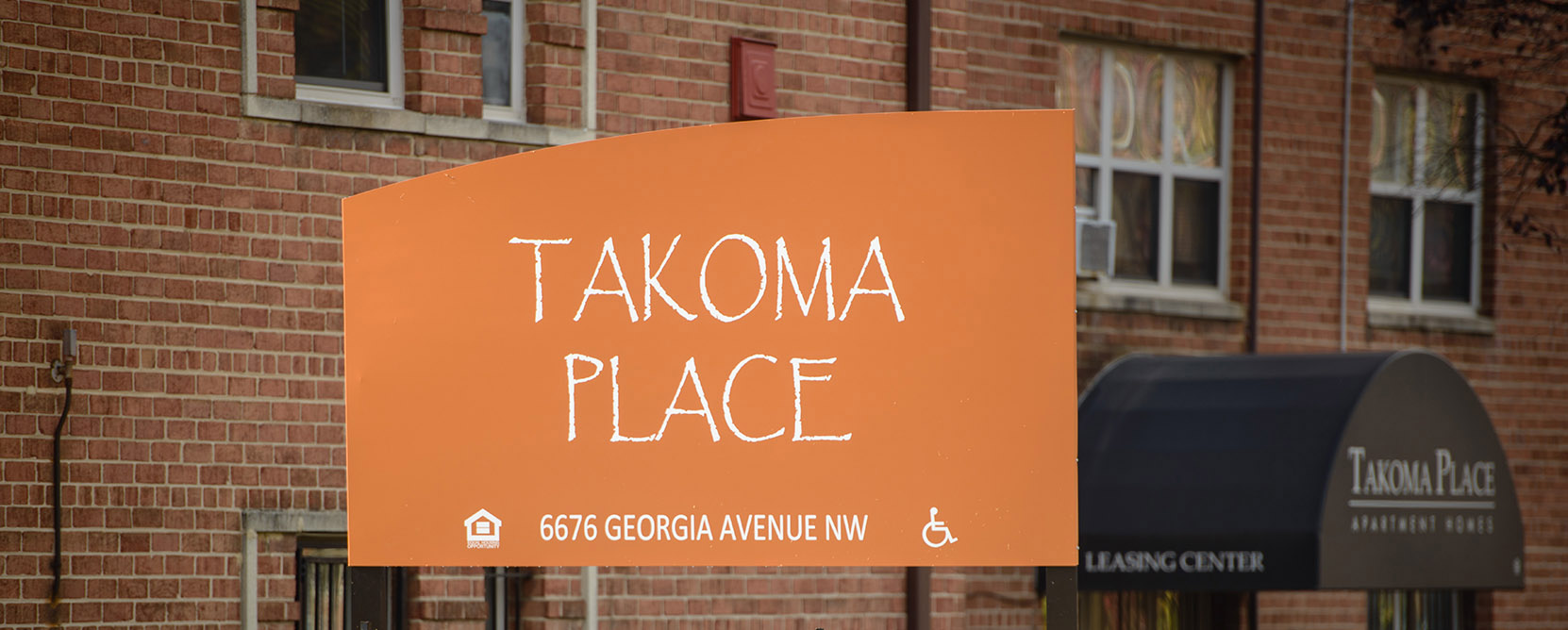 Exterior sign of the Takoma Place apartments