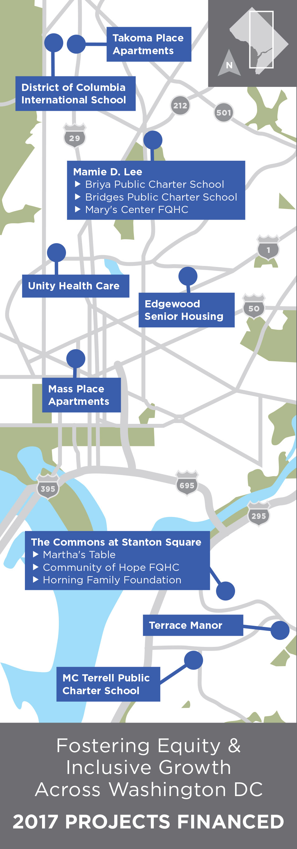 Map of Capital Impact's Washington DC projects