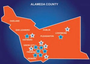 Map of Tri-City sites in Alameda County, CA