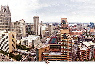 Aerial photograph showing downtown Detroit