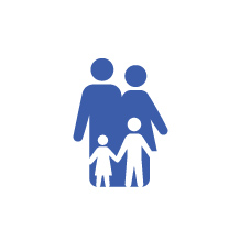 Icon showing two children standing in front of two adults