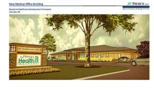 Architect's rendering of the outside of the new Primary Health Network building