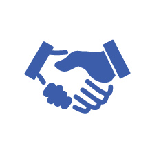 Icon showing shaking hands