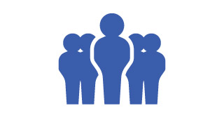 Icon of a person standing out front of a group of people