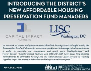 Announcement of fund managers for D.C.'s Affordable Housing Preservation Fund.