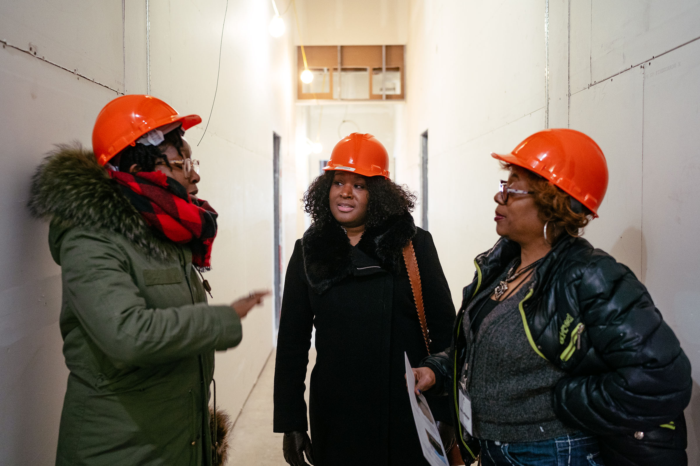 Three Black female real estate developers discuss a project