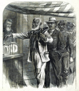 Black-and-white illustration of first African-American man to vote