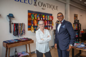 Sue Mosey of Midtown Detroit, Inc. with Ne'Gyle Beaman of Bleu Bowtique