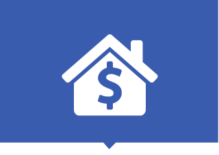 Financing icon showing dollar sign on house