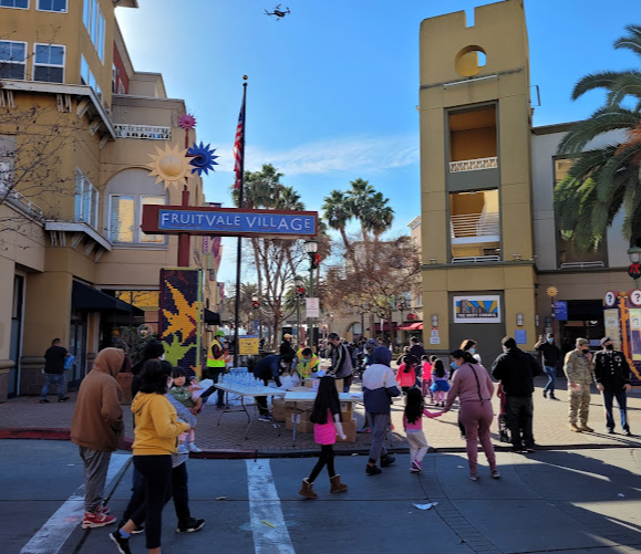 Families and community members spend time in Fruitvale Transit Village